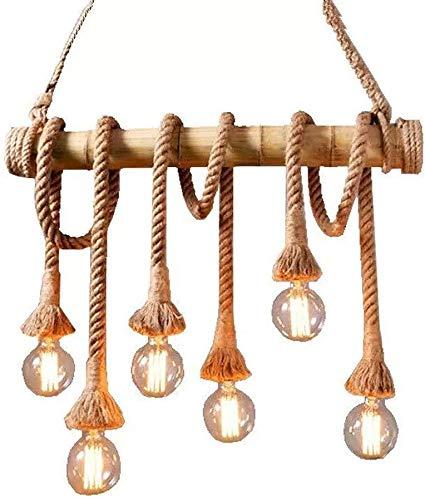 Lámpara De Pared Simple Y Fresca Vintage bambú cuerda araña retro estilo de techo colgante luz 6 cabezas lámpara colgante rústico para la casa de café Coffee Island Cocina E27 Base Eficiencia energéti