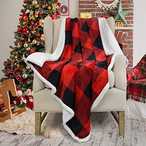 Red Buffalo Plaid Sherpa Throw Christmas Blanket 50' x 60' Reversible Fuzzy Micro Plush All Season Fleece TV Blanket for Bed or Couch