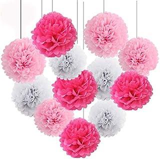 "HEARTFEEL 12pcs 10"" 8"" Tissue Paper Pom-poms Baby Pink Fuchsia White Outdoor Decoration Tissue Paper PomPoms Flower Ball W..."