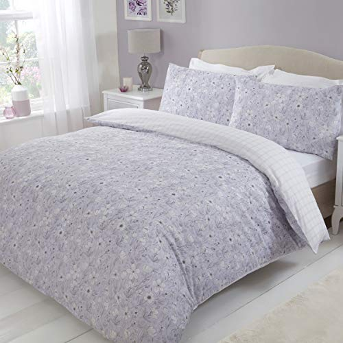 Sleepdown Scattered Sketch Floral Reversible Check Duvet Cover Quilt Bedding Set with Pillow Cases Easy Care - Double - Lilac