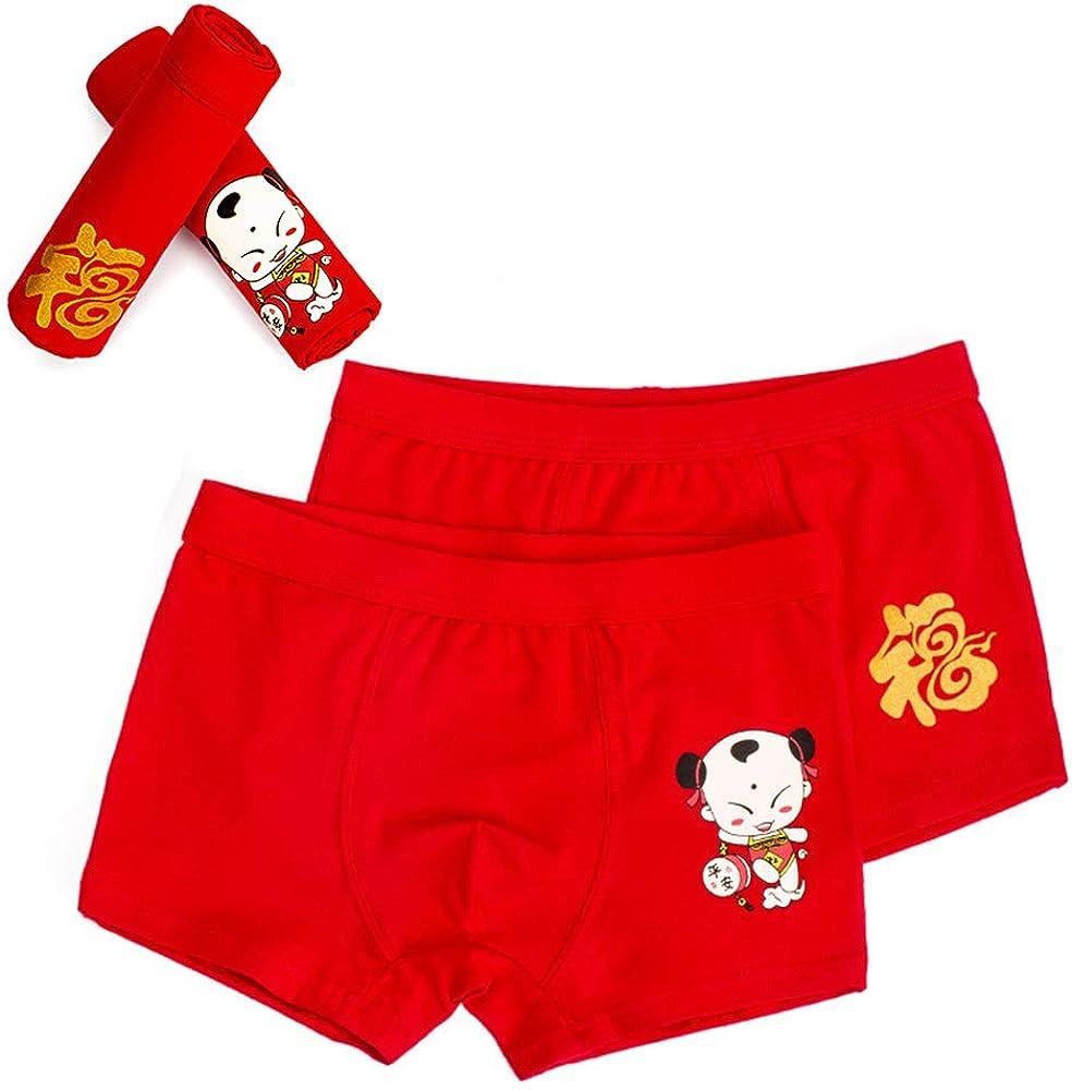 ZEVONDA China Red Series Boxers Panties - Girl Boys Cotton Boyshort Pack of 2