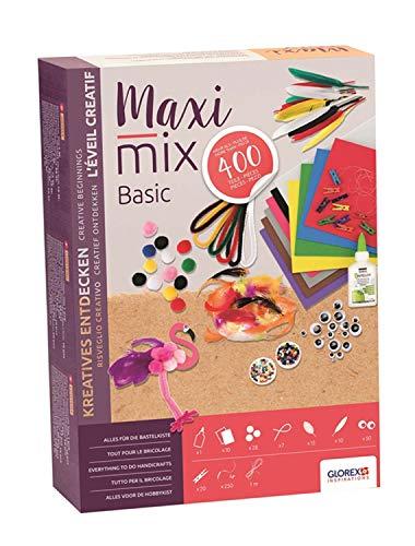 GLOREX 6 1214 074 - Creativ - Maxi - Mix Basic, Bastelmix bestehend aus 400 Teilen, mit Moosgummi, Pompons, Chenilledraht, Federn, Rocailles und Wackelaugen