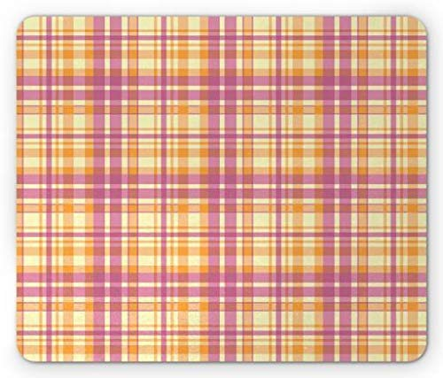 Drempad Gaming Mauspads Custom, Plaid Mouse Pad, 1960s Retro Fashion Colorful Pastel Square Tiles in Repetitive Order, Standard Size Rectangle Non-Slip Rubber Mousepad, Pale Yellow Orange Pink