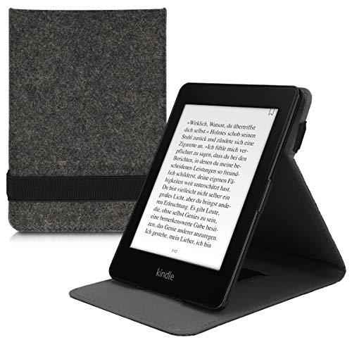 kwmobile 対応: Amazon Kindle Paperwhite ケース - リストストラップ と スタンド 付き - 電子書籍 保護ケース フェルトデザイン ダークグレー (2018