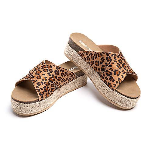 Sandalias Mujer Alpargatas Cuña Plataforma Chanclas Verano Playa Zapatillas de Cinturón Cruzado Punta Abierta Tacón 5.3 cm 1-Leopardo EU39