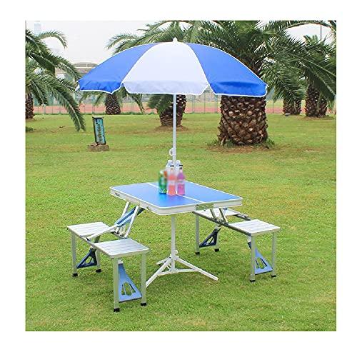 XIAOJU Mesa de Picnic Plegable para 4 Personas, Juego de sillas de Mesa de Aluminio, portátil, Liviana y Ajustable en Altura, para Uso en Interiores y Exteriores,Blue