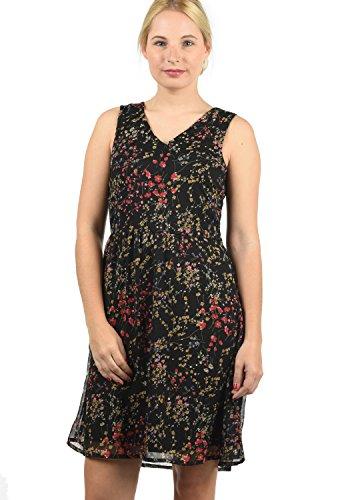 BlendShe Charly Damen Blusenkleid Lange Bluse Kleid Mit V-Ausschnitt Knielang, Größe:M, Farbe:Black Printed Flower (20111)