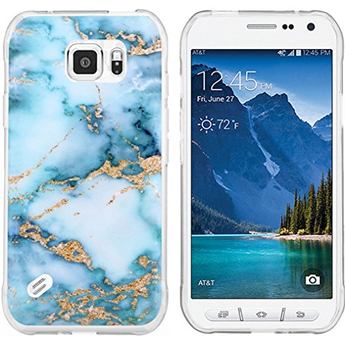 S6 Active Case Granite & Galaxy S6 Active Protector & MUQR Bumper Rubber Gel Silicone Slim Drop Proof Protection Cover Compatible with Samsung Galaxy S6 Active & Blue Marble Pattern
