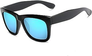 Retro Personality Square Frame Fashion Men Women Sunglasses Polarized Sunglasses (Color : E Blue, Size : Free)