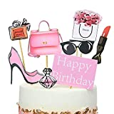 Stechop 8-Pack Creative Handmade City Women Cupcake Toppers Happy Birthday Party Cake Decoration for Girls 18th Birthday Bachelorette Party