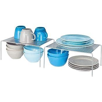 mDesign set de 2 étagère cuisine – rangement cuisine autoportant en métal – range vaisselle de cuisine pour tasses, assiettes, aliments, etc. – couleur argenté