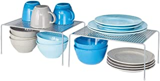 mDesign set de 2 étagère cuisine – rangement cuisine autoportant en métal – range vaisselle de cuisine pour tasses, assiet...