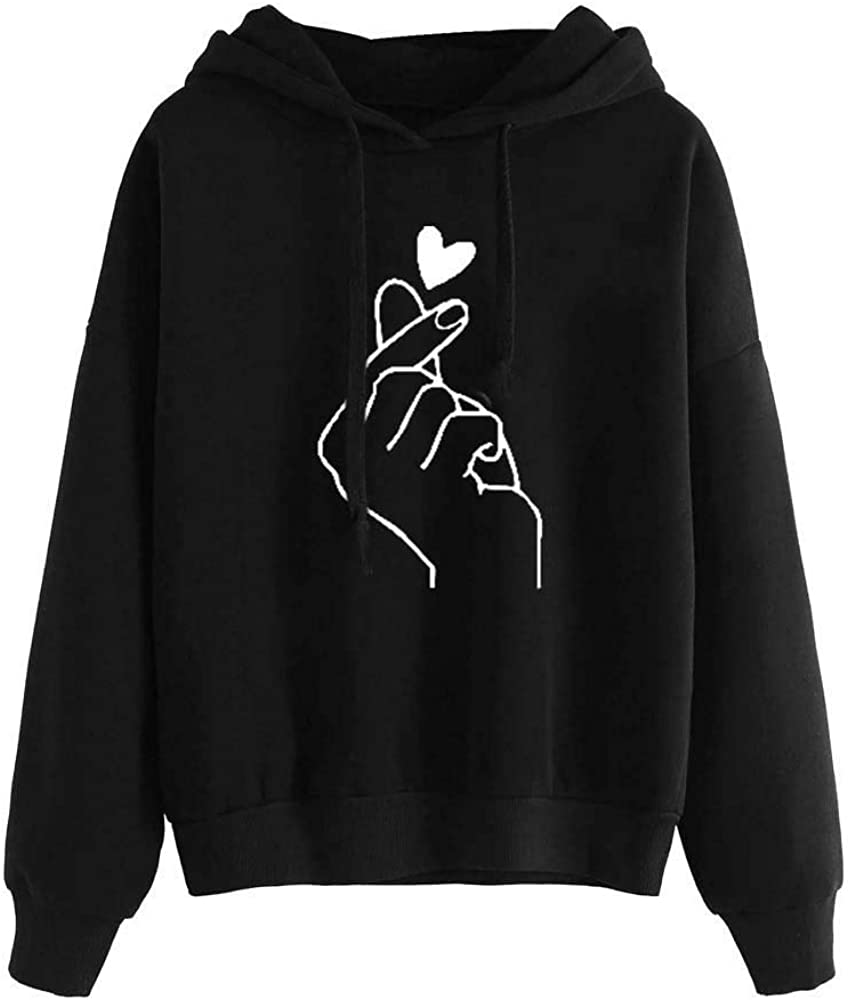 Women's Fall Winter Fashion Tops Long Sleeve Heart Print Hoodie Sweatshirt Comfy Jumper Hooded Blouse with Drawstring