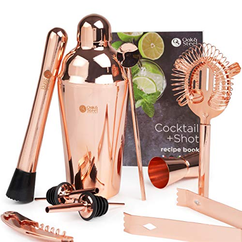 Oak and Steel - Juego de 2 10 piezas de cobre (oro rosa) + recetas de cócteles – Juego completo de bar – Alta calidad acero inoxidable kit de barman en caja de regalo elegante