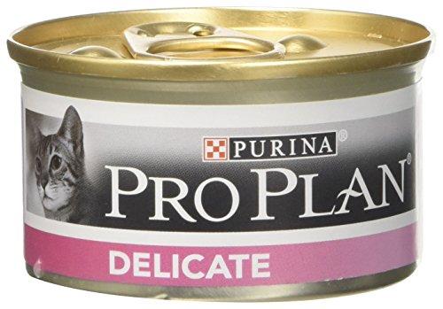 Purina - PRO PLAN DELICATE - Mousse riche en Dinde pour chat - Lot de 24 x 85 g