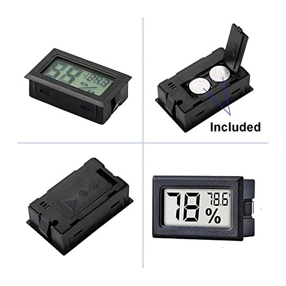 Meggsi 2-pack mini digital hygrometer gauge indoor thermometer, lcd monitor temperature outdoor humidity meter for… 5 mini, durable and portable, measuring humidity and temperature for indoor/outdoor. Fast response that measures every 10 seconds with 24 sensitive vents to provide updated and accurate readings. Fahrenheit (℉) display, this thermometer displays temperature in fahrenheit(℉). Comes with a gift kit (extra lr44 batteries+double-side tapes). Measuring humidity range :10%-99%rh, measuring humidity accuracy: +/-5%.