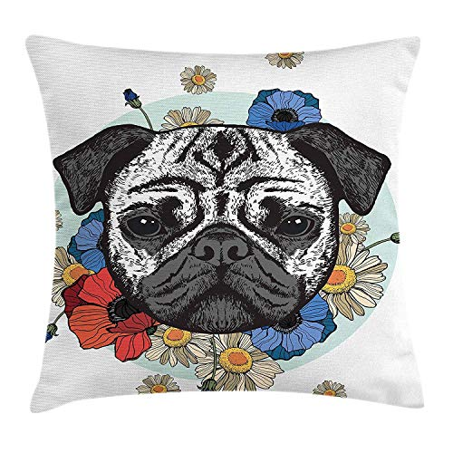 Jiger Pug Throw Pillow Cushion Cover, Black and White Head of a Pug on Floral Arrangement met prachtige Flowers Daisies, Decoratieve Square Accent Pillow Case, Red Blue Black