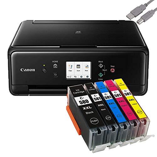 Bundle Canon PIXMA TS6250 inkjetprinter, multifunctioneel apparaat, zwart met 5 comp. Youprint® inktpatronen voor PGI-580/CLI-581 XXL (printen, scannen, kopiëren)