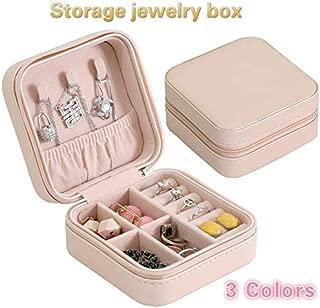 ZX PU Single Layer Simple Storage Jewelry Box Creative Portable Jewelry Storage Box Earrings Earrings Ring Small Jewelry Box (Pink,One Size)