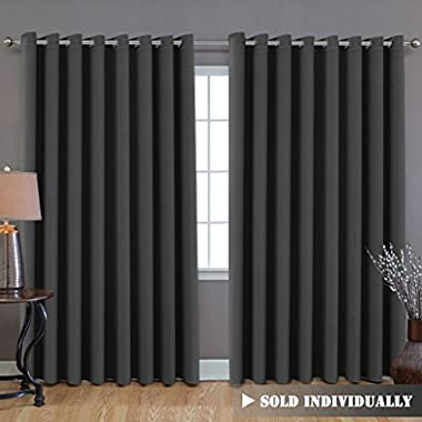 H.Versailtex Extra Long and Wide Blackout Curtains, Thermal Insulated Premium Room Divider (Total Privacy, 9' Tall by 8.5' Wide -Grommet Wider Curtain Large Size 100 W by 108 L-Charcoal Gray