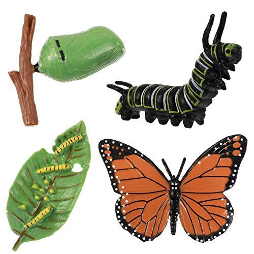 HEMOTON 4 Pièces Insectes Figurines Vie Cycle de Cerf Papillon Safariology Bug Chiffres Jouets Kit Chenilles à Papillons Éducatifs Projets Scolaires pour Les Enfants Et Les Tout- Petits
