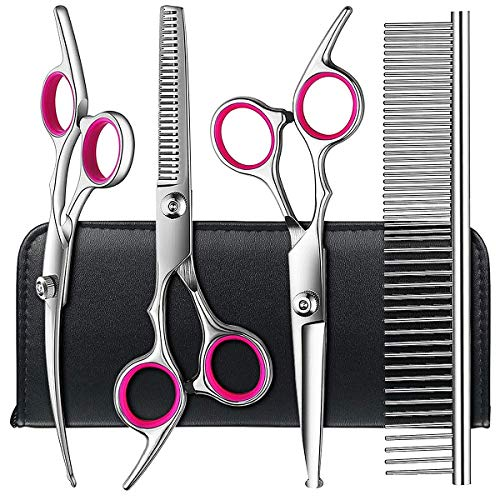 Dog Grooming Scissors kit with Safety Round Tips, TINMARDA Stainless Steel Professional Pet Grooming...