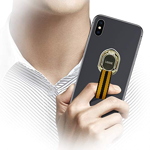 Loop Phone Holder Strap for Finger Grip with Inbuilt Car Magnet Mount and Ring Kickstand Phone Finger Holder Gripper for Back of Phone Case Support Wireless Charging & Magnetic Car Mount, Yellow