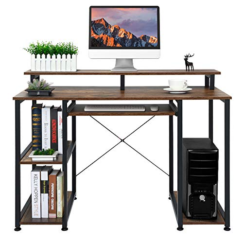 home office desk with storages VANSPACE Computer Desk with Keyboard Tray Monitor Stand Storage Shelves DK02, Industrial Office Desk 47 inch Studying Writing Table with CPU Stand, Wood Desk for Home Office, Retro Brown…