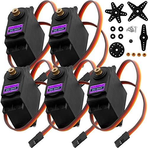 AZDelivery 5 x MG996R Digital Servo Motor Metal Gear High Speed Torque Helicopter Airplane Boat RC for Arduino including eBook