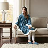 Comfort Spaces Glimmersoft Plush to Sherpa Pocket Hooded Angel Wrap...