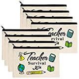 Teacher Gifts, Teacher Survival Kit 8 Pieces Makeup Pouch Cosmetic Bag Travel Toiletry Case Pencil Bag with Zipper for Holiday Christmas Teacher Appreciation Gift Bulk