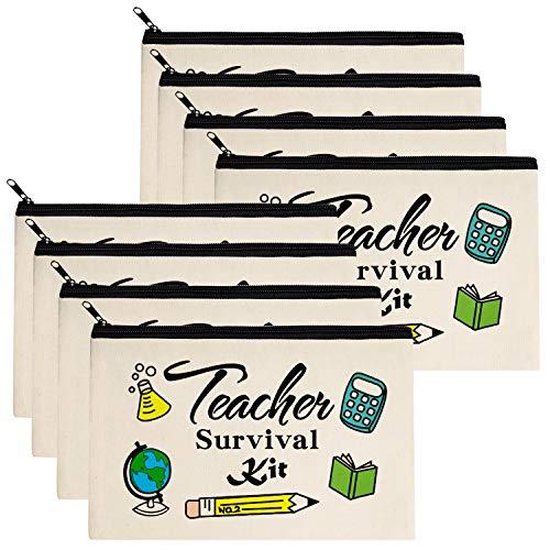 Teacher Gifts, Teacher Survival Kit 8 Pieces Makeup Pouch Cosmetic Bag Travel Toiletry Case Pencil...