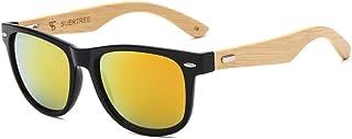 SUERTREE Bamboo Sunglasses Cute Women Men Vintage Shades Retro Summer Round UV 400 Protect Eyeglasses JH8001