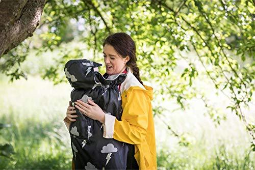 BundleBean - Wetterschutz-Cover für Babytragen & Tragetücher - Fleece-Futter (Silber Blitz)