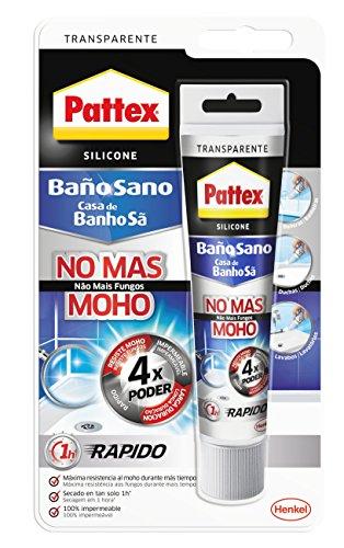 Pattex Baño Sano No Más Moho, silicona antimoho e impermeable, silicona transparente duradera para cocina y baño, resistente silicona sanitaria, 1 tubo x 50 ml