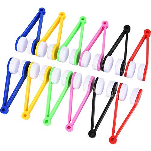 Hestya 12 Stücke Brillen Reinigung Tool Mini Mikrofaser Weiche Bürste Reinigungswerkzeug für Sonnenbrille und Brillen (Grün, Rot, Schwarz, Blau, Rosa, Gelb)