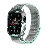 Konafei Compatible with Apple Watch Band with Case 44mm 42mm 40mm 38mm, Soft Silicone Bumper Case Stretchy Elastics Nylon Sport Strap Compatible with iWatch Series SE/6/5/4/3/2/1 for Women&Men