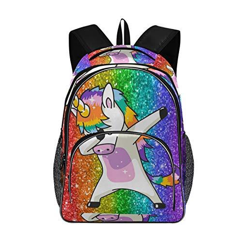Girls Boys Backpack Women Backpack Purse Anti-theft Fashion Casual Shoulder Bag Rainbow Glitter Unicorn Star