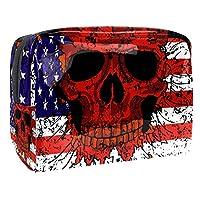 メイクアップバッグトイレタリーバッグコスメティックオーガナイザージッパーポーチ女性用アメリカ国旗スカル
