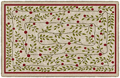 Brumlow MILLS Holiday Vines Washable Festive Christmas Indoor or Outdoor Holiday Rug for Living or Dining Room, Bedroom and Kitchen Area, 30x46, EW20569-30X46BH