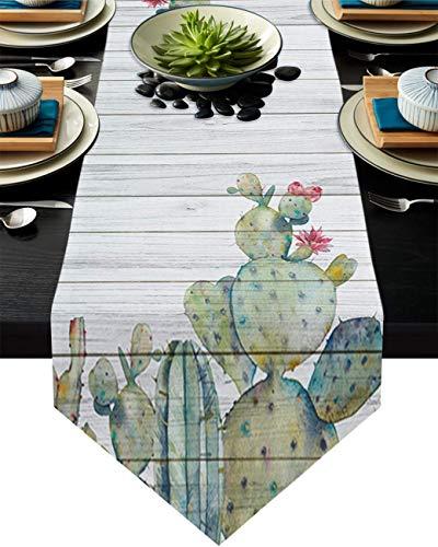 Camino de mesa, plantas de cactus y flores, bufandas de tocador, decoración de mesa para bodas, ceremonias/banquetes (33 x 228 cm)
