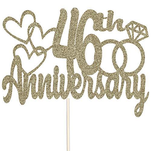 Szczęśliwej 46. rocznicy brokatowy czubek na tort - na zamówienie rekwizyty do dekoracji przyjęć - dostępne w wielu kolorach (złoty