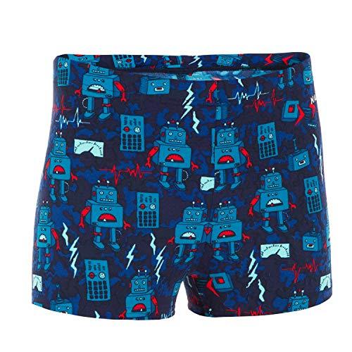 Nabaiji 8553236 Boys Swimming Boxer Shorts - Printed, 131-140cm 8-9Y (Blue Red)