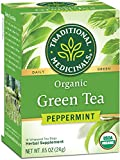 Traditional Medicinals Organic Green Tea Peppermint Tea (Pack of 6), Promotes Healthy Digestion, 96 Tea Bags Total