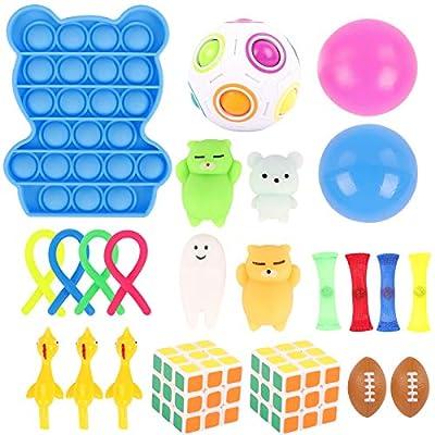 Herefun 24Pcs Juguetes Sensoriales Kit Niños, Juguetes Sensoriales Niños Kit de Juguetes Sensoriales Push Pop Bubble Sensory Toy, Juguetes Fidget Sensoriales para Niños Sensorial Antiestres Juguete de Herefun