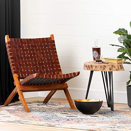 South Shore Balka Woven Leather Lounge Chair-Auburn