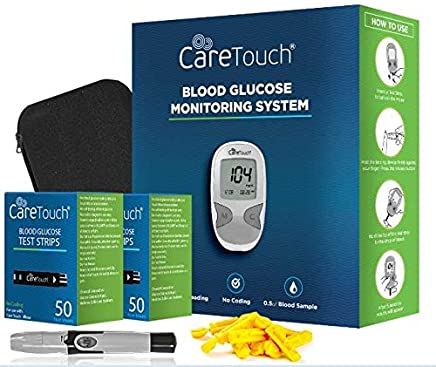 Care Touch Diabetes Blood Sugar Kit – Care Touch Blood Glucose Meter, 100 Blood Test Strips, 1 Lancing Device, 30 gauge Lancets-100 count and Carrying Case