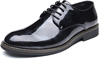 2019 Mens New Lace-up Flats Men's Comfortable Business Oxford Casual Low-top Patent Leather Pointed Formal Shoes
