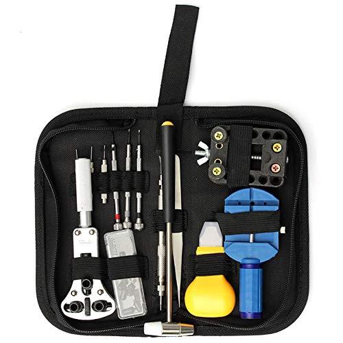 Herramienta de reparación de relojes, herramienta de reparación de correas de reloj, kit de relojero con herramientas de 14 piezas para abrir la caja de reloj