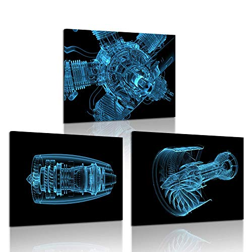 iKNOW FOTO 3 Pieces Canvas Art Wall Decor Jet Engine 3D x-ray Blue Transparent Isolated on Black Poster Art Prints Modern Home Walls Decor Framed Artwork for Boys Room 12x16inchx3pcs